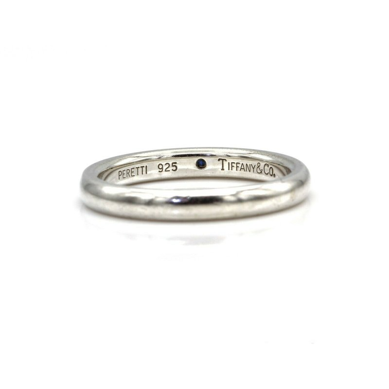 Tiffany Co TIFFANY & CO STERLING ELSA PERETTI SAPPHIRE STACKING BAND SIZE 6.5 #1019B-2