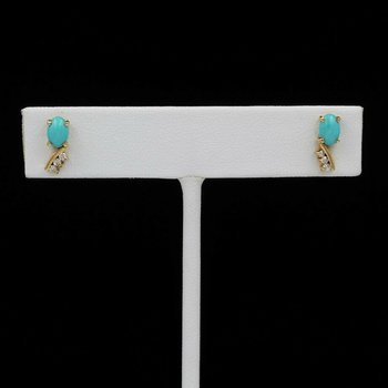 14K YELLOW GOLD ETRUSCAN REVIVAL TURQUOISE OVAL CAB & DIAMOND EARRINGS #1032B-8