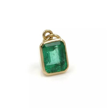 18K GOLD 1.75 CT NATURAL EMERALD VIBRANT COLOR BEZEL SET PENDANT #1024B-1