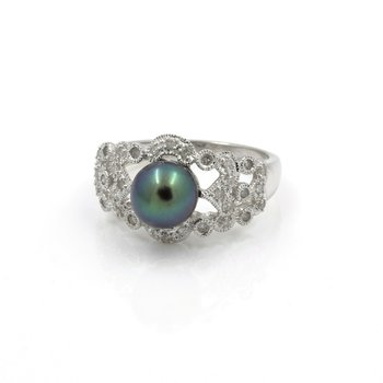 14K WHITE GOLD TAHITIAN PEARL DIAMOND ACCENT COCKTAIL RING SIZE 8.25 #JB39-7