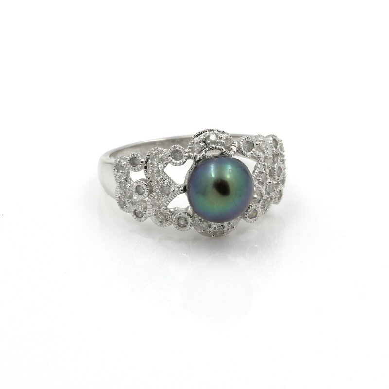 Pearl 14K WHITE GOLD TAHITIAN PEARL DIAMOND ACCENT COCKTAIL RING SIZE 8.25 #JB39-7