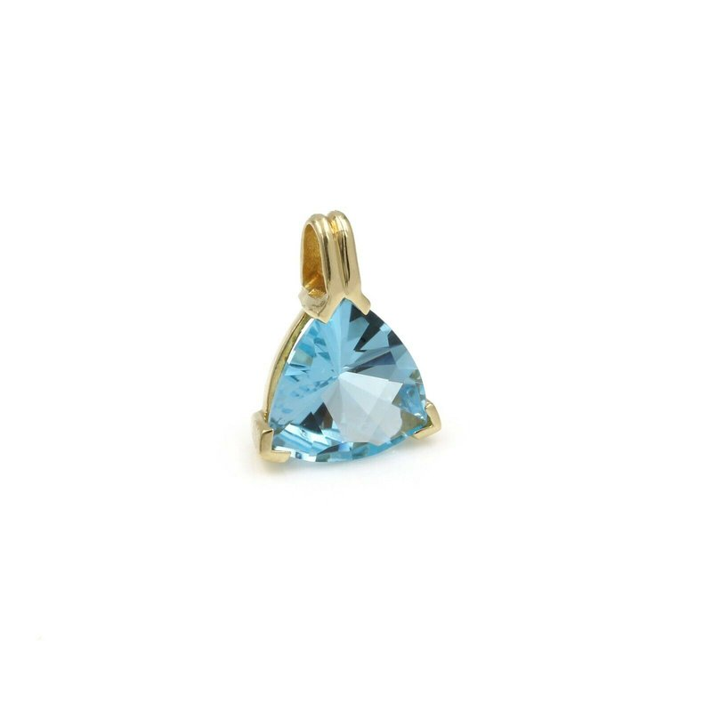 National Rarities 18K YELLOW GOLD BLUE TOPAZ TRILLION CUT SOLITAIRE PENDANT 5.30 CARATS 1034B-1
