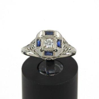 VINTAGE ART DECO 18K GOLD W/ DIAMOND & SAPPHIRE FILIGREE RING SIZE 5.5 JB43-4