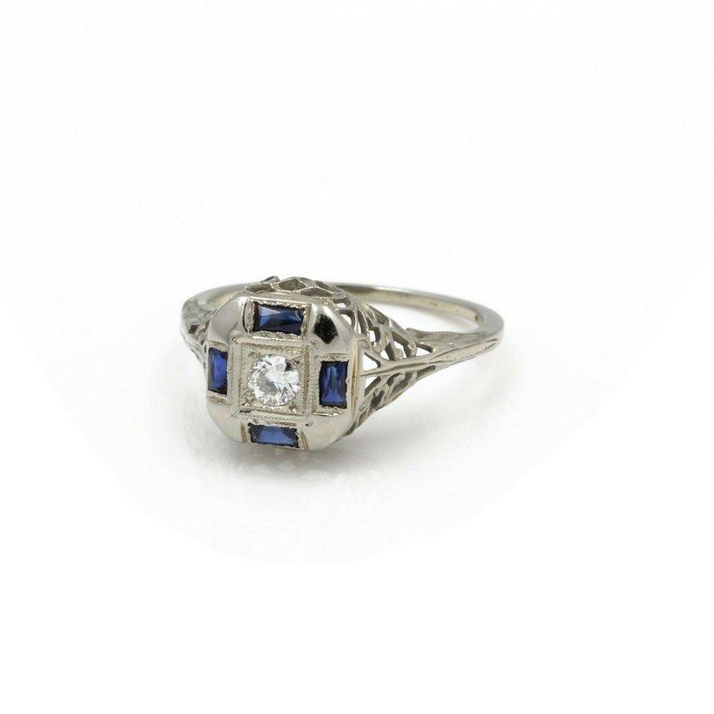 National Rarities VINTAGE ART DECO 18K GOLD W/ DIAMOND & SAPPHIRE FILIGREE RING SIZE 5.5 JB43-4