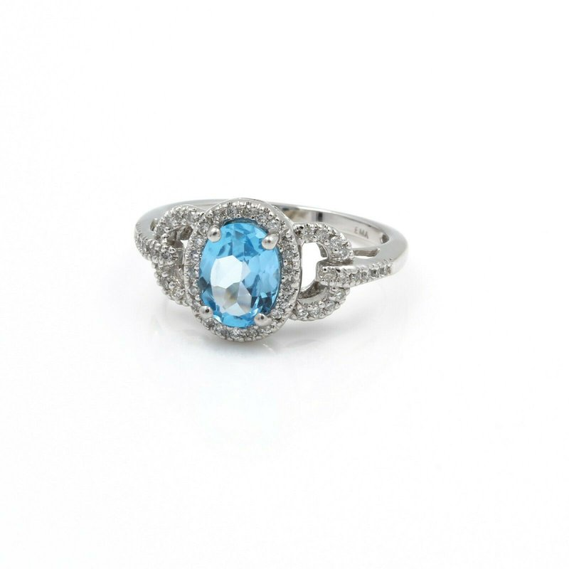 National Rarities 14K GOLD RING w/ 1.6 CT SWISS BLUE TOPAZ  & .35 CTW DIAMOND ACCENTS NO RES #J3-5