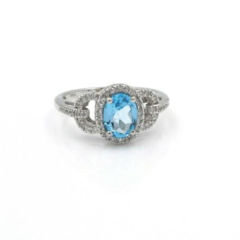 14K GOLD RING w/ 1.6 CT SWISS BLUE TOPAZ  & .35 CTW DIAMOND ACCENTS NO RES #J3-5
