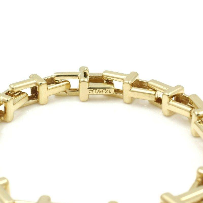 "Tiffany Co ELEGANT 18K GOLD ITALY TIFFANY & CO. ""T"" LINK BRACELET 7.5"" INCHES #D3091-3"