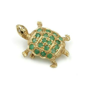 14K YELLOW GOLD .96 CTW ROUND EMERALD DIAMOND TURTLE PIN NICELY DETAILED #973B-4