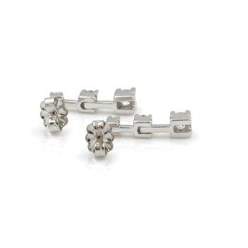 14K WHITE GOLD THREE STONE DROP/DANGLE ROUND DIAMOND EARRINGS 0.40CTW #JB61-9