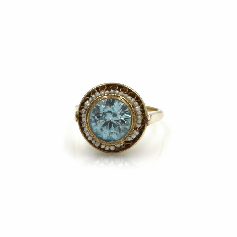 National Rarities VINTAGE 14K SOLID GOLD 3.87 CT ZIRCON & SEED PEARL RING SIZE 5.25 #1051B-5