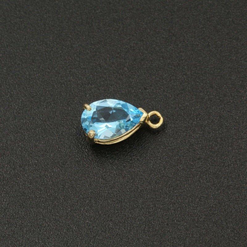National Rarities 14K YELLOW GOLD 1.65 CT BABY SWISS BLUE TOPAZ PENDANT PEAR SHAPE NICE #982B-7