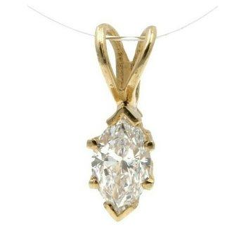 14K YELLOW GOLD .25 CT MARQUISE WHITE DIAMOND PETITE PENDANT CLASSIC #JB77-9