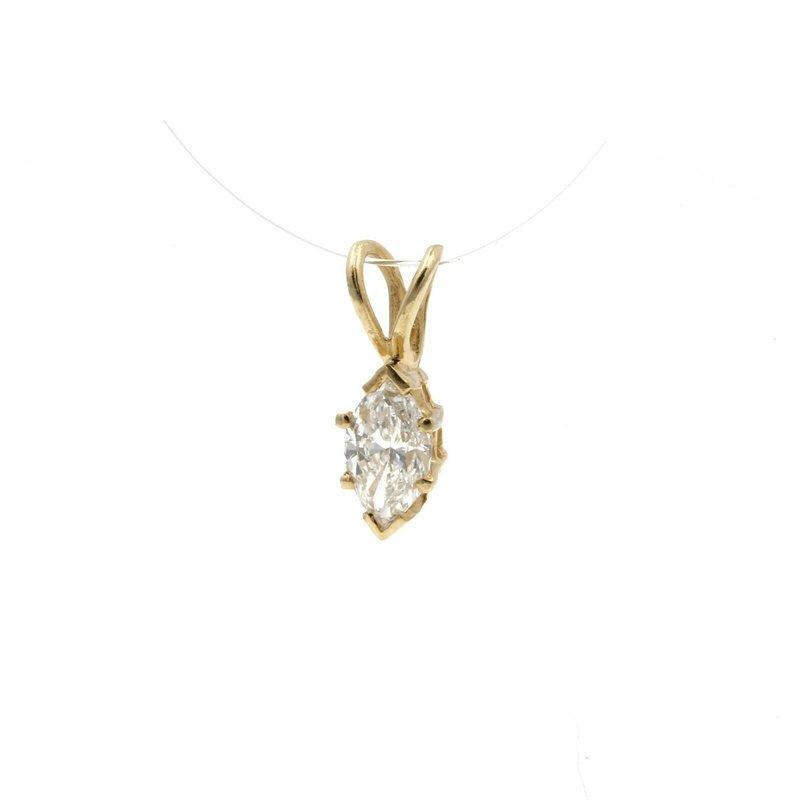 National Rarities 14K YELLOW GOLD .25 CT MARQUISE WHITE DIAMOND PETITE PENDANT CLASSIC #JB77-9