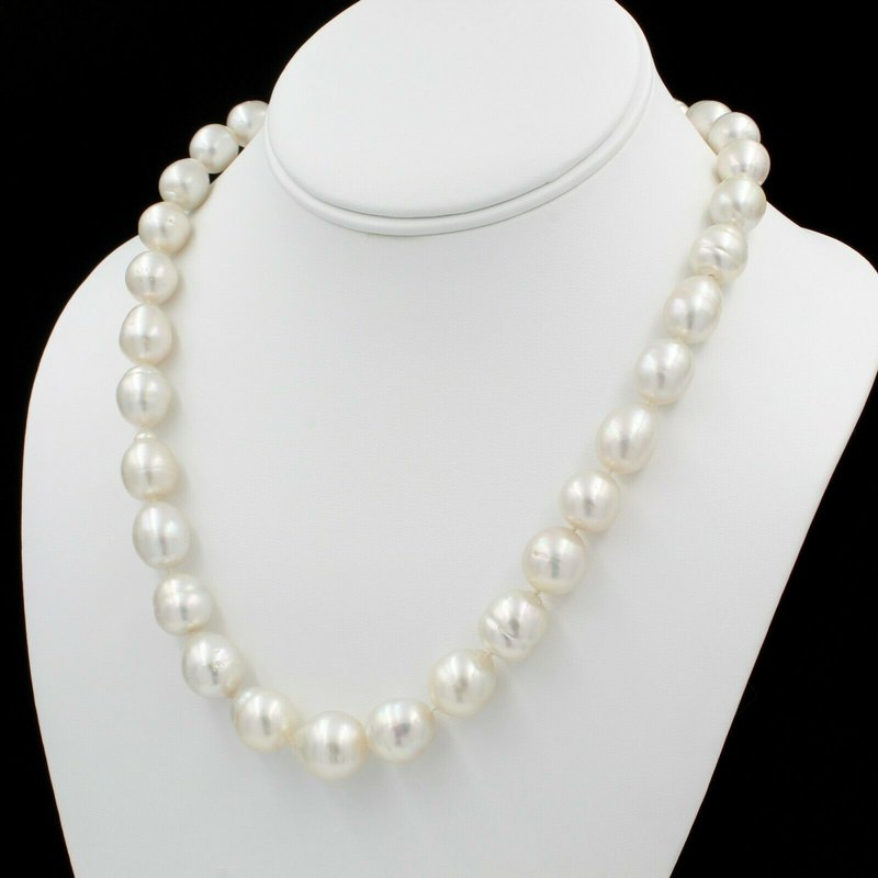 "National Rarities 14K YELLOW GOLD AUSTRALIAN SOUTH SEA PEARL 19"" SINGLE STRAND NECKLACE NICE E-313"