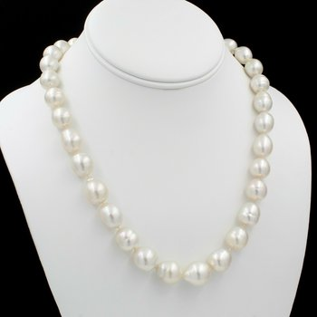 "14K YELLOW GOLD AUSTRALIAN SOUTH SEA PEARL 19"" SINGLE STRAND NECKLACE NICE E-313"