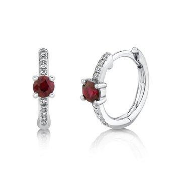 Ruby & Diamond Huggie Earrings