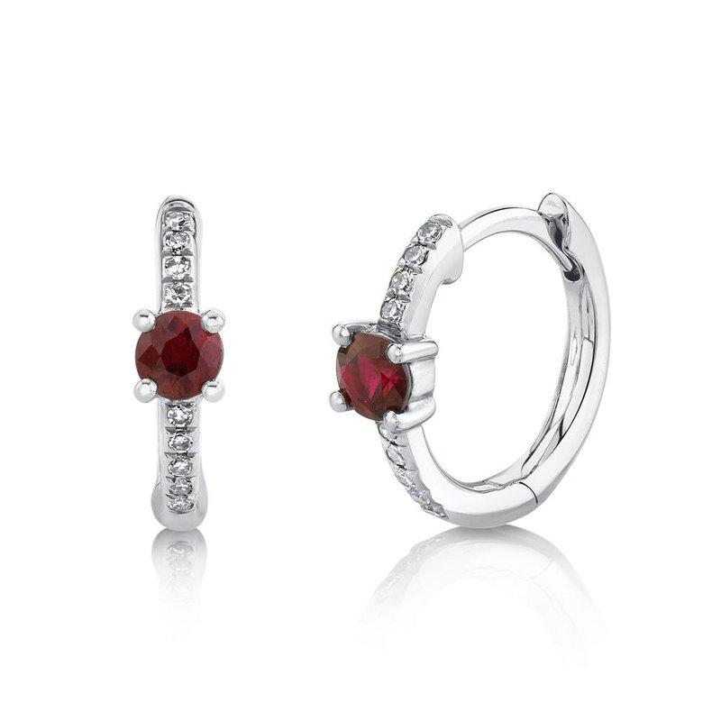 Shy Creation Ruby & Diamond Huggie Earrings