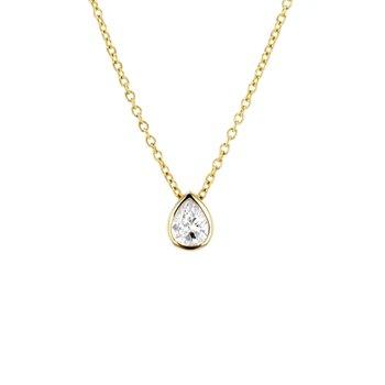 0.38 ct Pear Diamond Bezel Solitaire Necklace