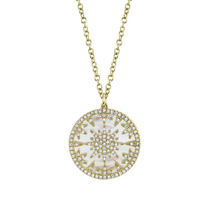 Shy Creation Mother of Pearl & Diamond Pendant Necklace