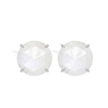 ROUND MOONSTONE STUD EARRINGS
