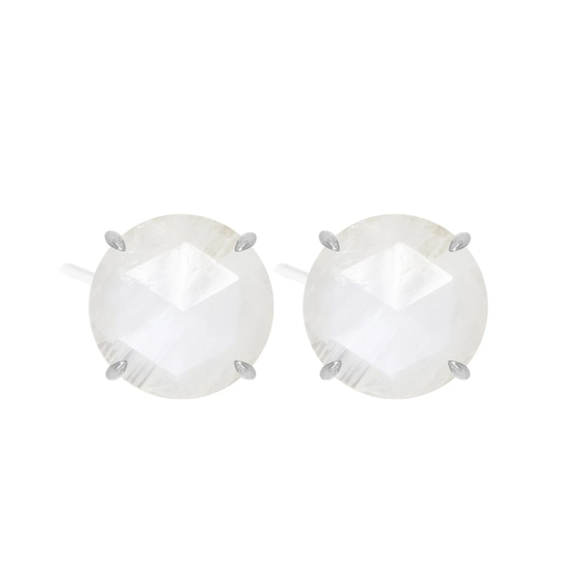Nina Nguyen Designs ROUND MOONSTONE STUD EARRINGS