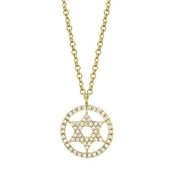 0.12 ctw Diamond Star of David Necklace