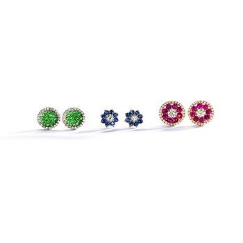 Emerald & Diamod Stud Earrings