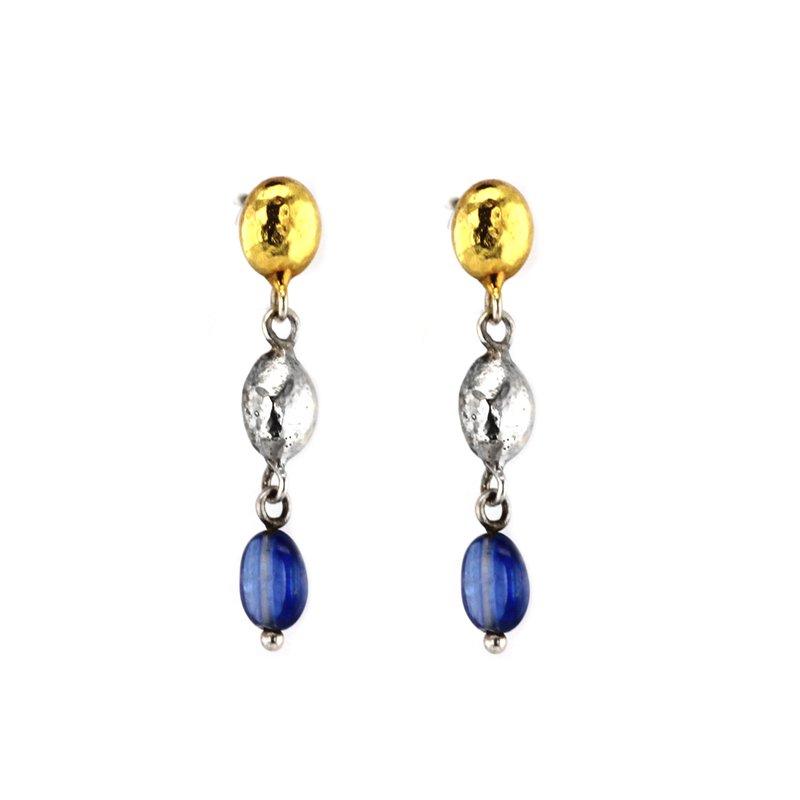 Gurhan Kyanite Two Tone Dangle Post Earrings