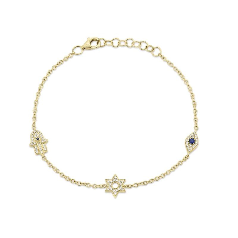 Shy Creation Blue Sapphire Hamsa-Star-Evil Eye Bracelet