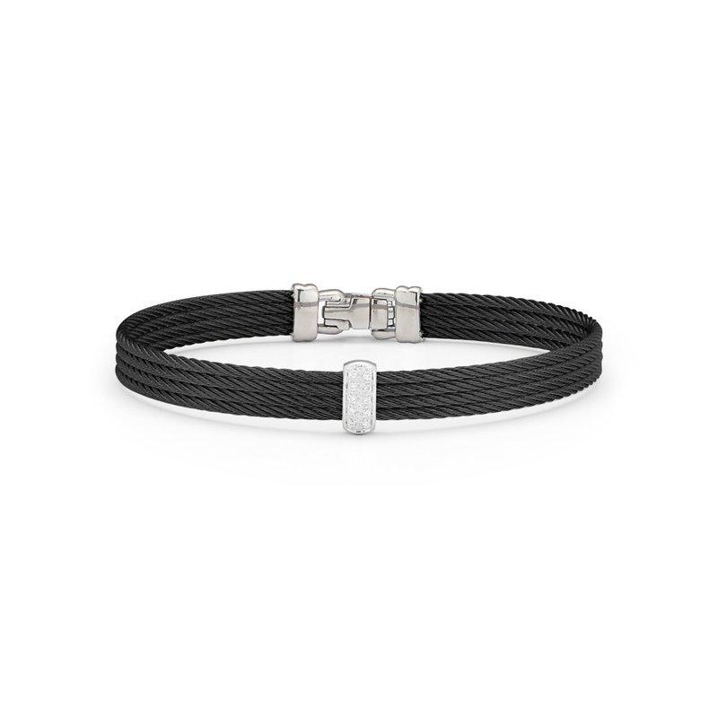ALOR 0.05 ctw Diamond Cable Bangle Bracelet