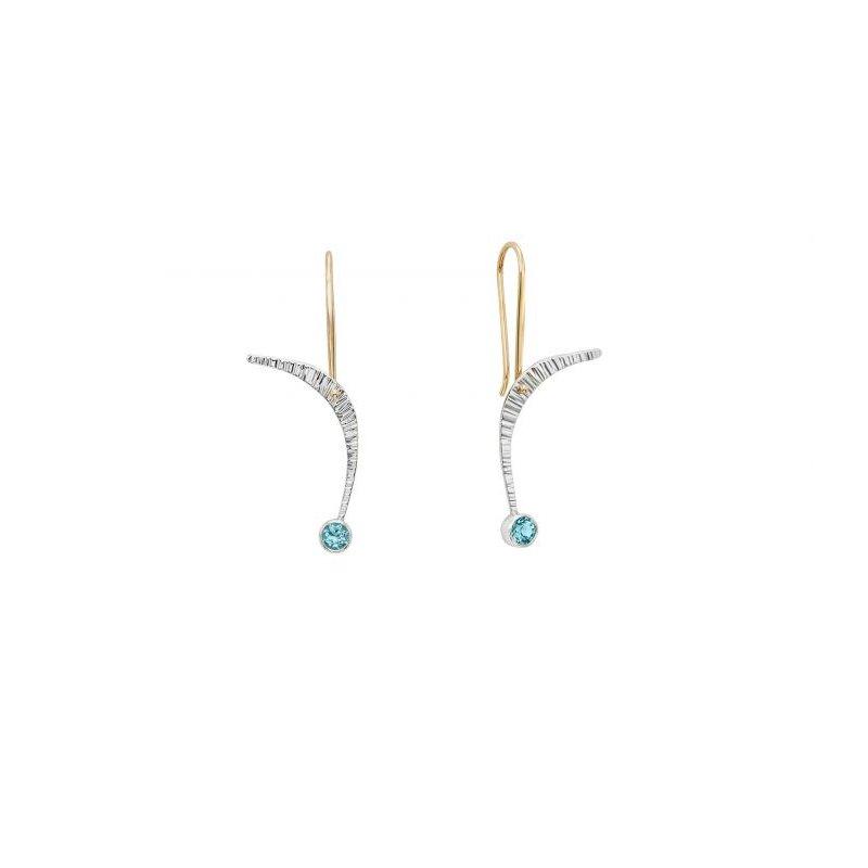 EL Designs Blue Topaz Sterling Silver Dangle Earrings