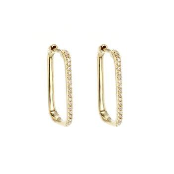 0.12 ctw Diamond Square Hoop Earrings