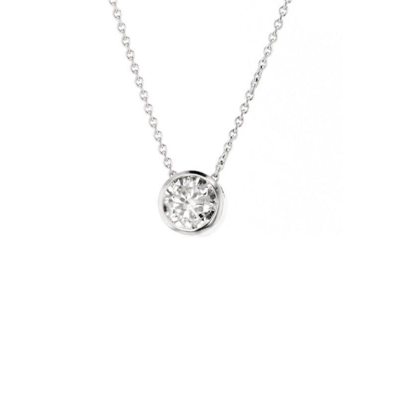 CD Diamonds 0.72 ct Round Diamond Bezel Solitaire Necklace