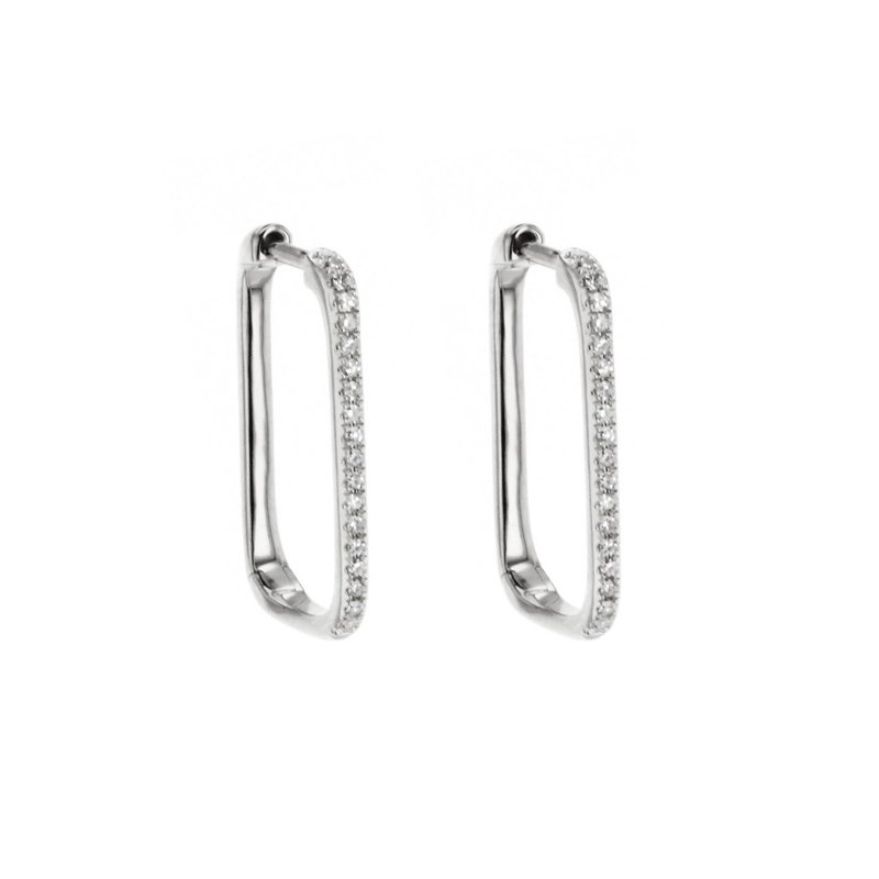 Continental Collection 0.12 ctw Diamond Square Hoop Earrings