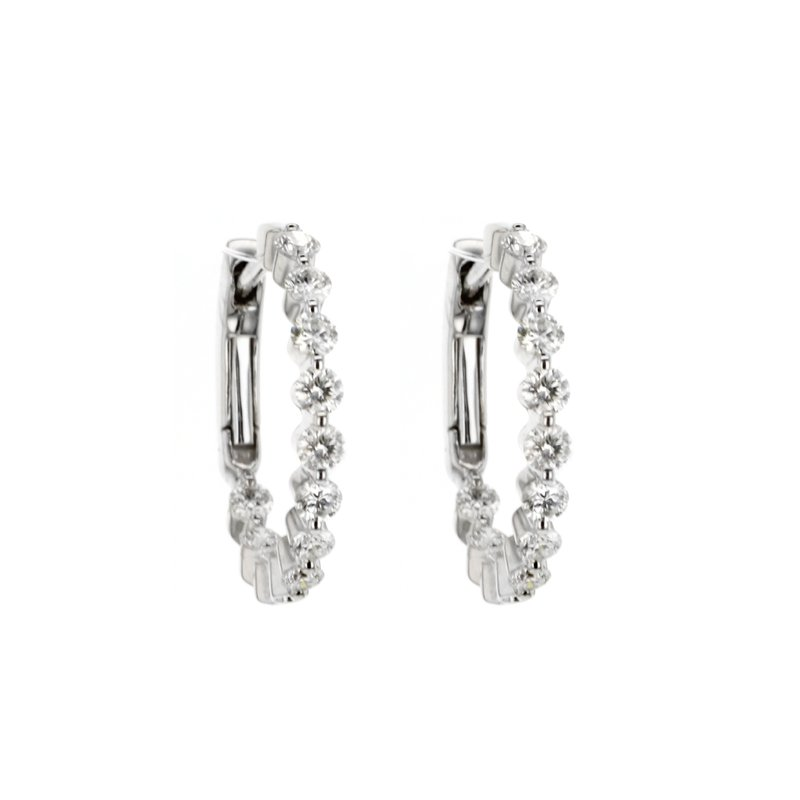 """Continental Collection 1.00 ctw Diamond 3/4"""" Round Inside-Out Hoop Earrings"""