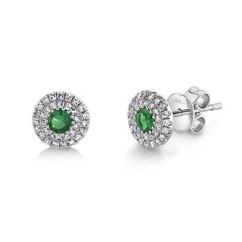 Emerald & Diamond Halo Post Earrings