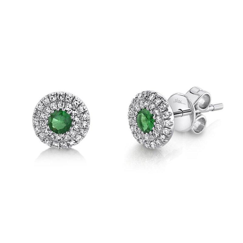 Shy Creation Emerald & Diamond Halo Post Earrings