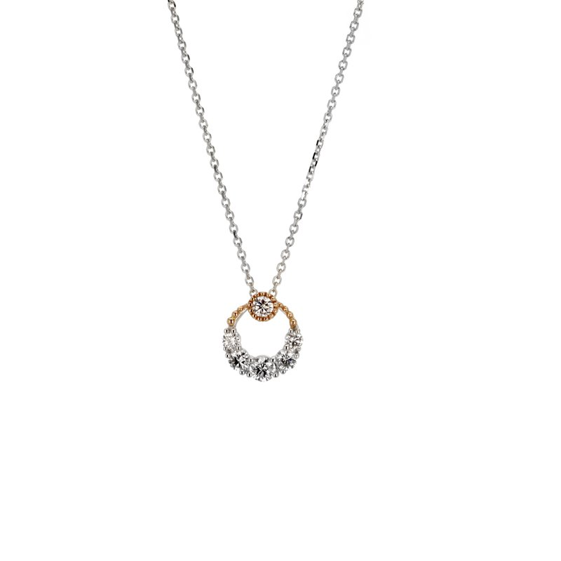 Continental Collection Diamond Round Pendant Necklace