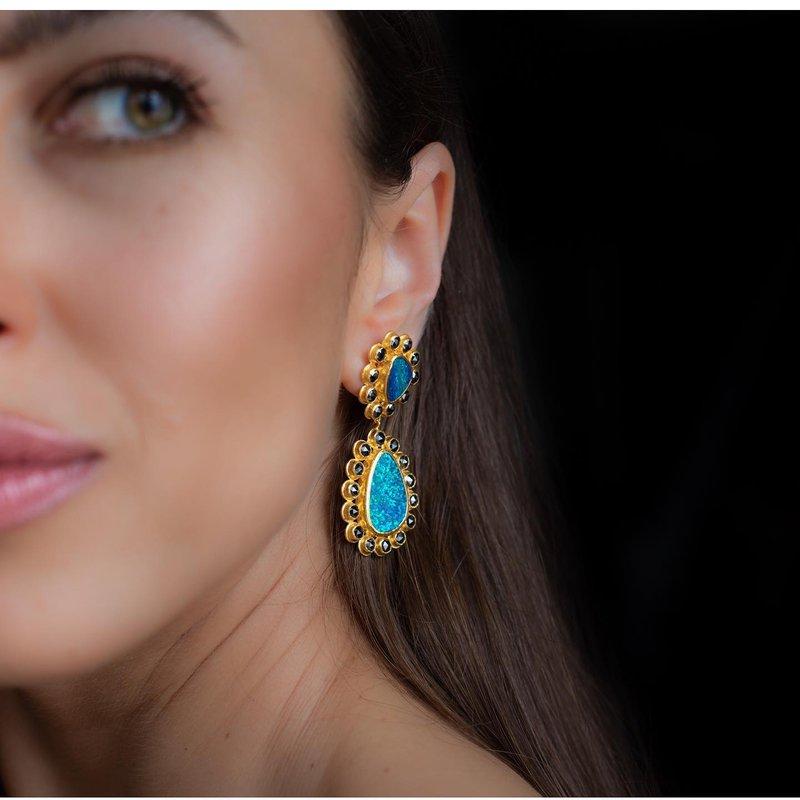 ARA Collection Opal & Black Diamond 24k Drop Post Earrings