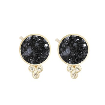 BLACK DRUZY ROUND 18K STUD EARRINGS