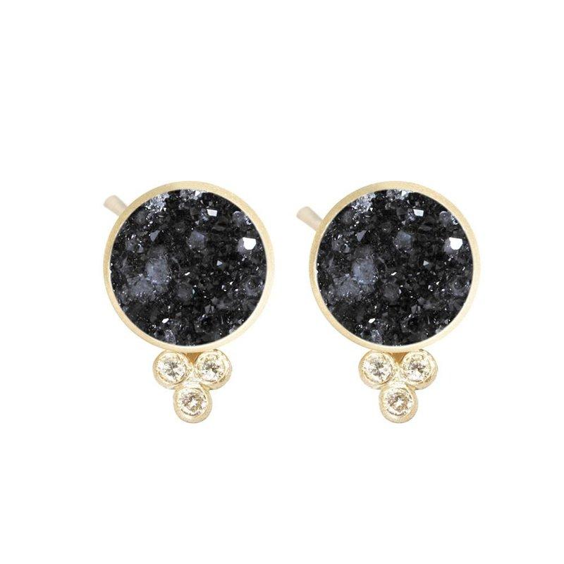Nina Nguyen Designs Black Druzy & Diamond Post Earrings