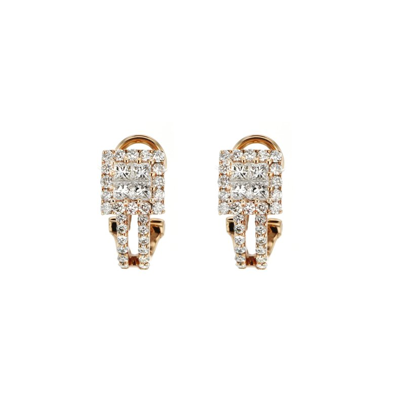 Continental Collection 1.34 ctw Diamond Huggie Post Earrings