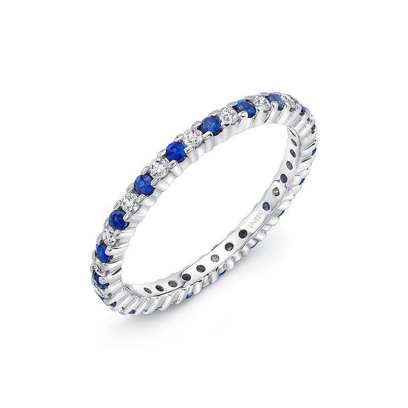 Uneek Fine Jewelry Eternity Blue Sapphire & Diamond Band
