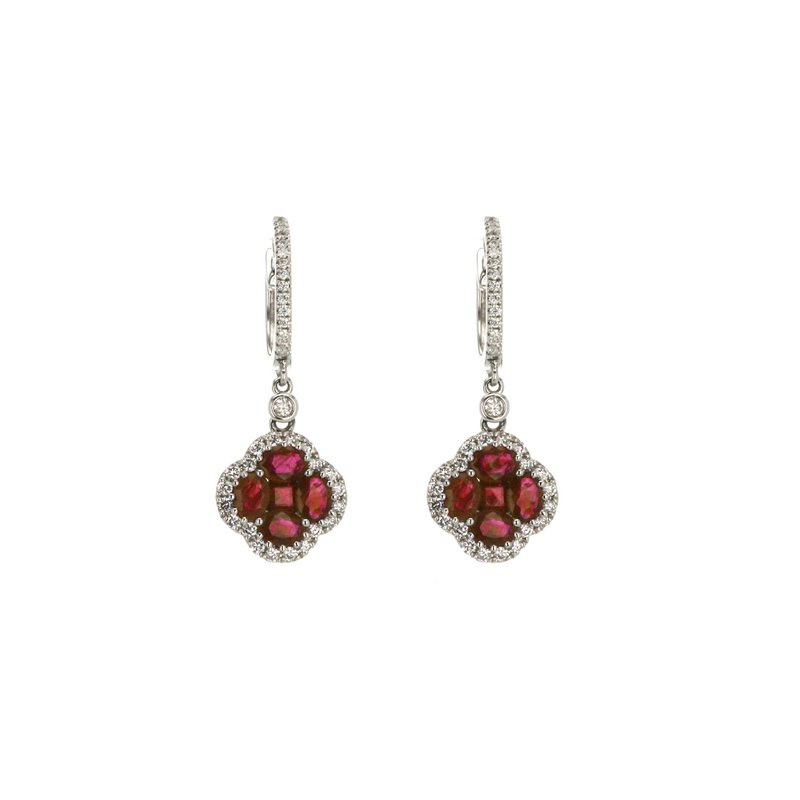 Continental Collection Ruby & Diamond Drop Huggie Earrings