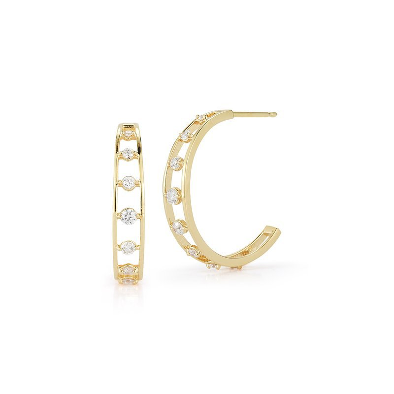 Barbela Design 0.26 ctw Diamond Hoop Post Earrings
