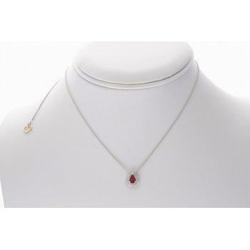 Ruby & Diamond Halo Necklace