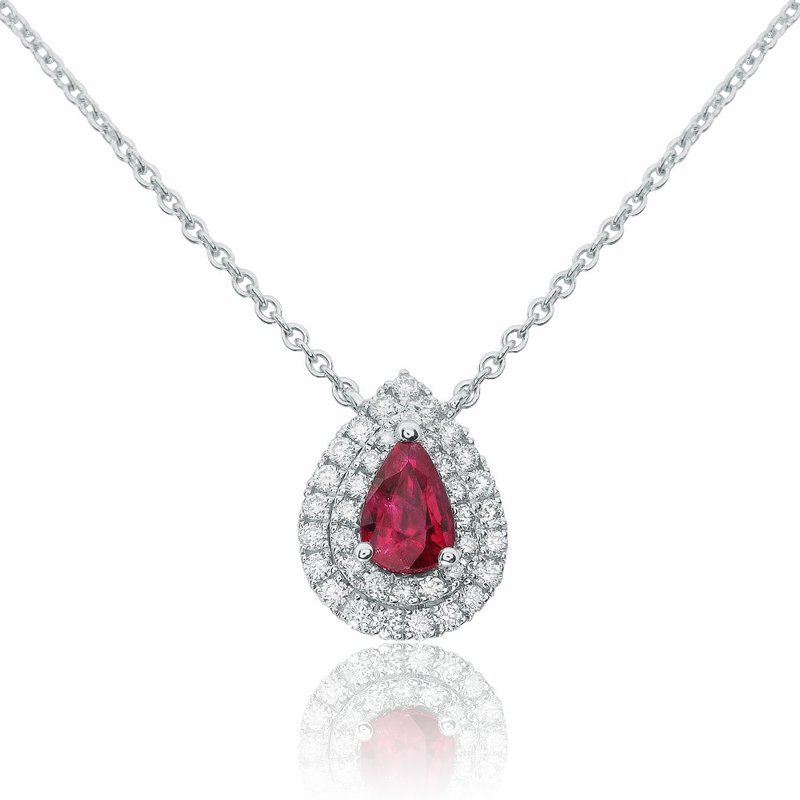 Continental Collection Ruby & Diamond Halo Necklace