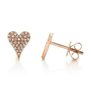 0.14 ctw Diamond Heart Post Earrings