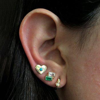 Emerald & White Topaz Post Earrings