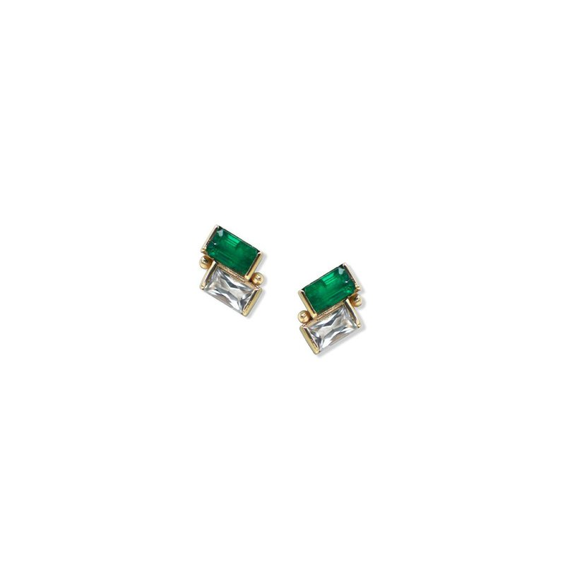 Anzie Emerald & White Topaz Post Earrings